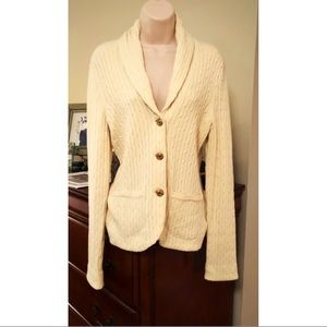 Lilly Pulitzer cream cable cardigan w gold buttons